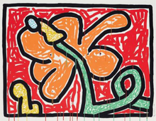 Keith HARING - Grabado - Flowers V (Red)