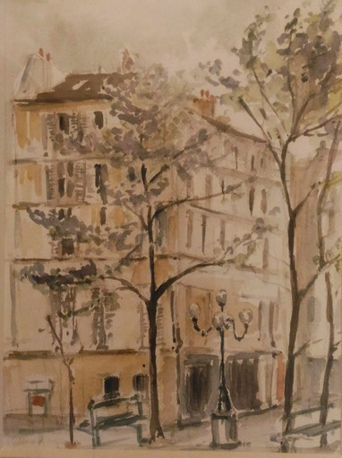 Fernand BECK - Drawing-Watercolor - Place Furstenberg saint Germain des pres.