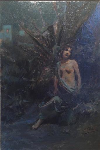 Ulpiano CHECA Y SANZ - Pittura - Souverir of Capri - Desnudo en el bosque