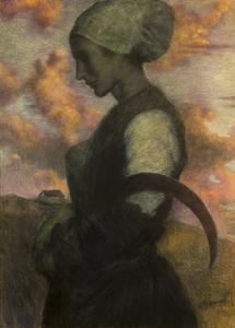"""Lucien LÉVY-DHURMER - Disegno Acquarello - """"LA PRIERE AU CREPUSCULE"""", CIRCA 1890"""