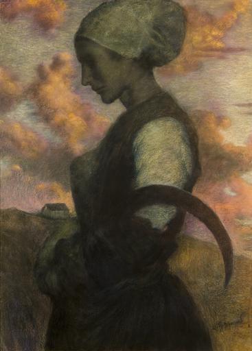 """Lucien LÉVY-DHURMER - Zeichnung Aquarell - """"LA PRIERE AU CREPUSCULE"""", CIRCA 1890"""