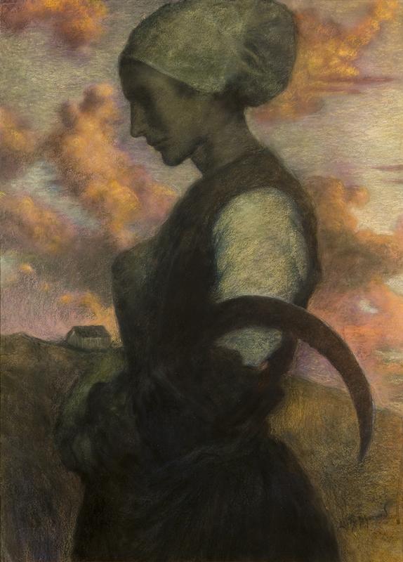 """Lucien LÉVY-DHURMER - Drawing-Watercolor - """"LA PRIERE AU CREPUSCULE"""", CIRCA 1890"""