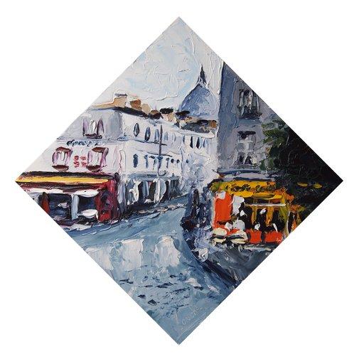 Jean Michel René SOUCHE - Pittura - Rue Norvins (Montmartre)