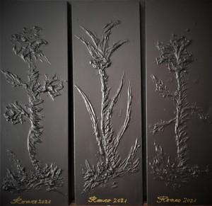 Romeo DOBROTA - Painting - Fleurs noir, Acrylic on canvas,