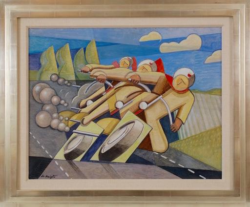 Bela DE KRISTO - Painting - Motorcyclists