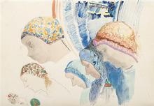 Odilon REDON - Drawing-Watercolor - Profils de Hollandaises