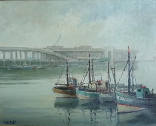 Emmanuel LE PETIT - Painting - le port de boulogne sur mer