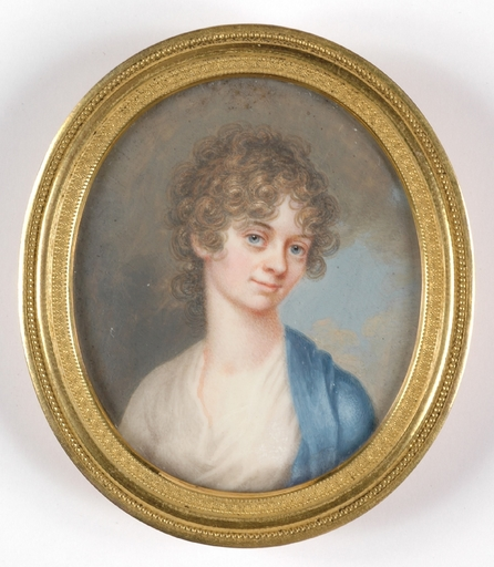 """Josef GRASSI - Dessin-Aquarelle - """"Portrait of a young lady"""" important miniature, early 19th C"""