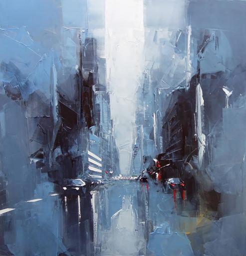 Daniel CASTAN - Pittura - Manhattan - un matin tôt