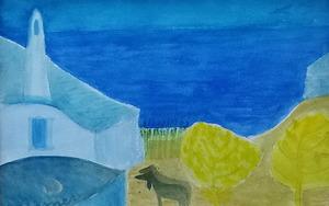 Gerhild DIESNER - Dibujo Acuarela - Hof mit Schafen am Meer