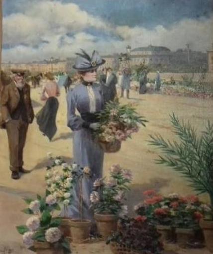 Georges PAYEN - Pintura - Marché aux fleurs parisien