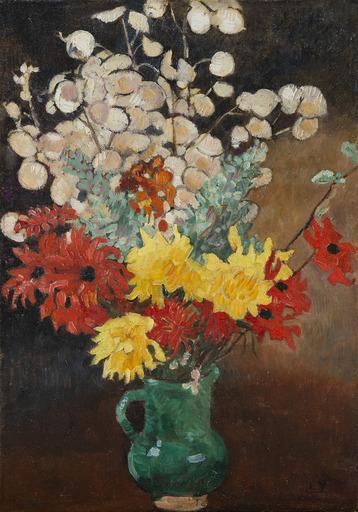 Louis VALTAT - Gemälde - Cruche verte, dahlias et fleurs