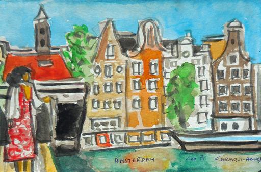 Jean-Pierre CHEVASSUS-AGNES - Drawing-Watercolor - promenade à AMSTERDAM (2)