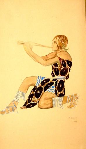 "Léon BAKST - Disegno Acquarello - Costume design of a young Beothian in ""Narcisse"""