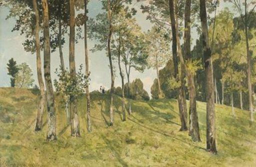 Henri Joseph HARPIGNIES - Zeichnung Aquarell - Conversation derrière les arbres