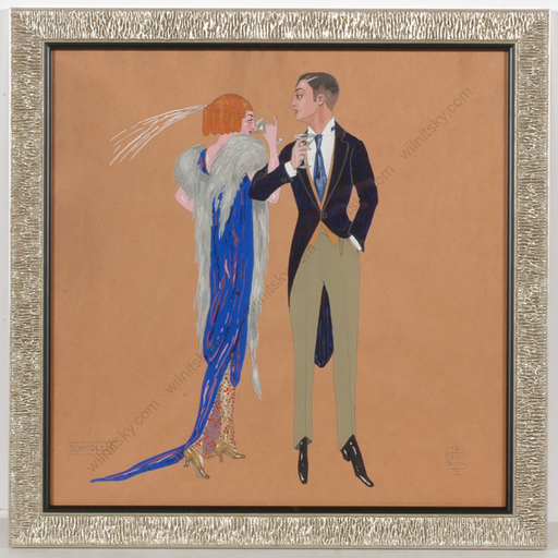 """Leo RAUTH - Drawing-Watercolor - """"Elegant couple drinking champagne"""", gouache"""