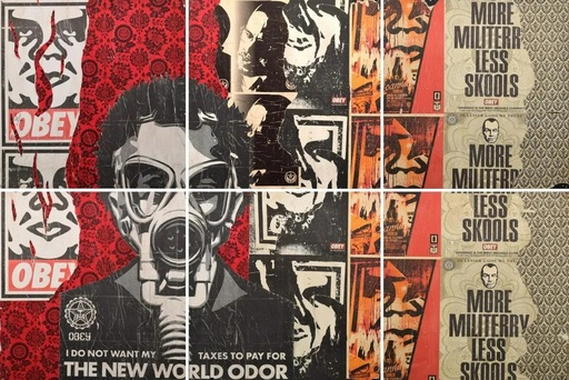 "谢帕德·费瑞 - 水彩作品 - Shepard Fairey OBEY Mural, Covert Skate Shop, 144""W"