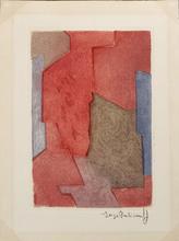 Serge POLIAKOFF - Stampa Multiplo - Composition mauve, bleue et rouge XXI