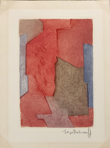 Serge POLIAKOFF - Print-Multiple - Composition mauve, bleue et rouge XXI