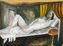 Ossip ZADKINE - Drawing-Watercolor - Reclining Nude