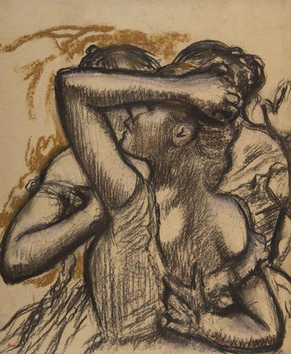 Edgar DEGAS - Dibujo Acuarela - Trois danseuses en buste