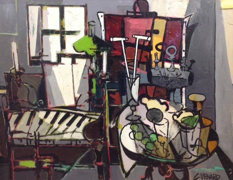 Claude VENARD - Painting - Le piano dans l'atelier