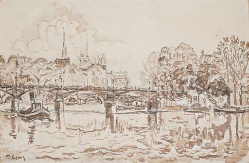 Paul SIGNAC - Drawing-Watercolor - La Seine à Paris, la passerelle des Arts