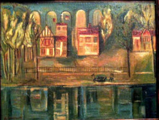 Youri Pavlovitch ANNENKOFF - Pittura - VILLAS BY THE RIVER