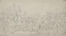 Bartolomeo PINELLI - Dibujo Acuarela - THE SABINE WOMEN INTERPOSING THEMSELVES TO SEPARATE THE ROMA
