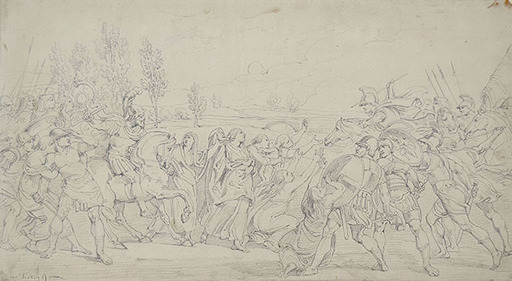 Bartolomeo PINELLI - Drawing-Watercolor - THE SABINE WOMEN INTERPOSING THEMSELVES TO SEPARATE THE ROMA