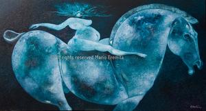 Mario EREMITA - Painting - Cavallo azzurro
