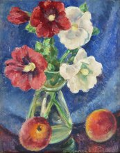 Georges DE POGEDAIEFF - Painting - Five Hollyhocks and Two Peaches