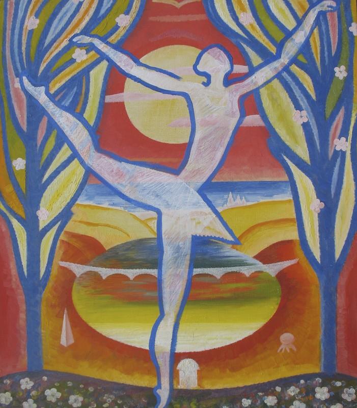 Sergey BORISOV - Gemälde - Ballet Sea, seria Flowers and Love, abstract woman dance