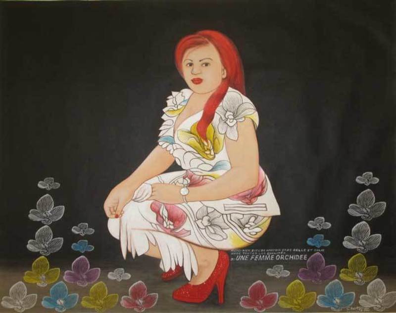 谢利•桑巴 - 绘画 - La femme orchidée