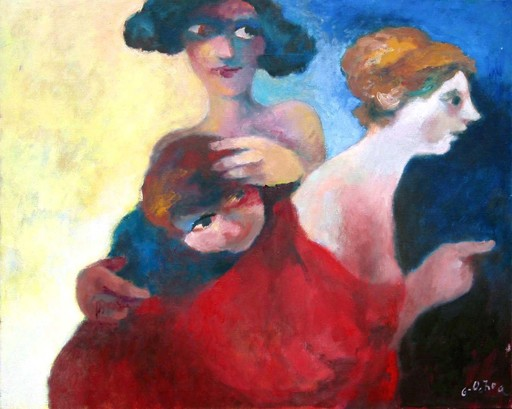Luis GARCIA OCHOA - 绘画 - Mujer señalando otras dos