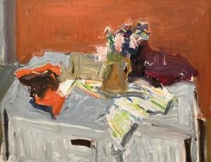 Albert DE DEKEN - Pintura - Rozen en gestreepte doek