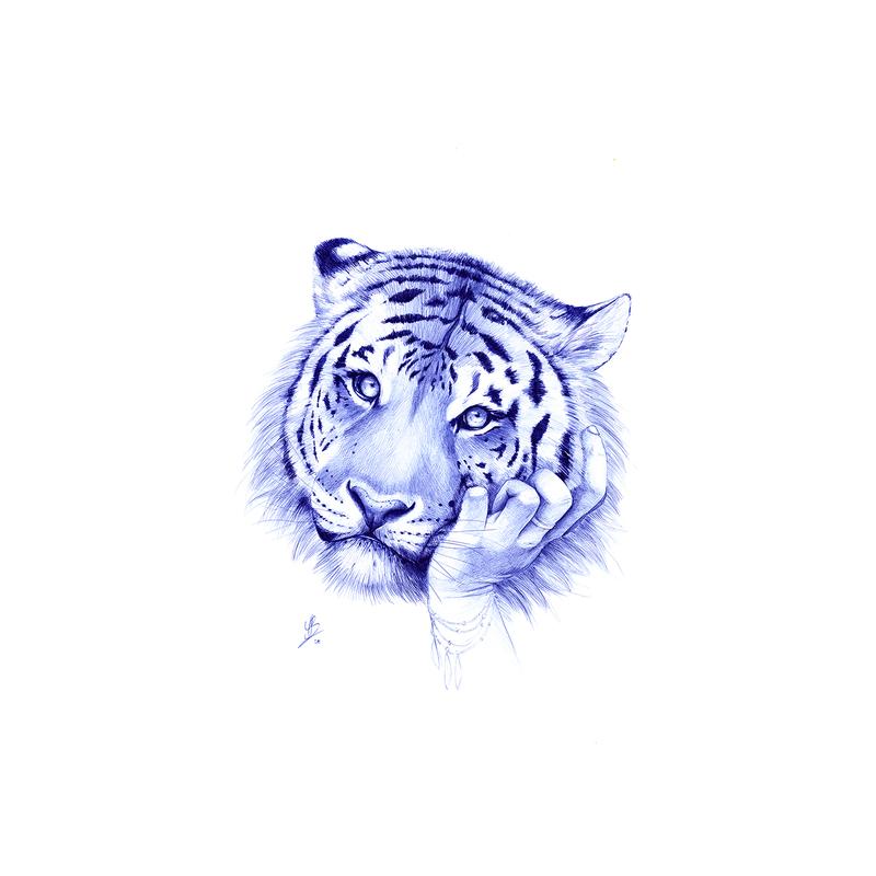 Youssef BOUBEKEUR - Dessin-Aquarelle - Tiger Waiting