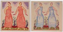 "Josef LACINA - Drawing-Watercolor - ""Friends"" two watercolors, 1926"