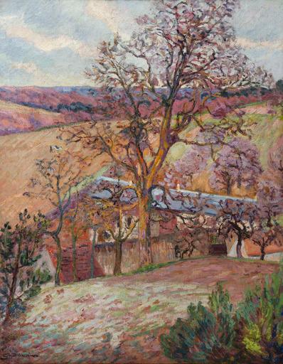 Armand GUILLAUMIN - Pintura - Ferme et arbres à Saint-Chéron