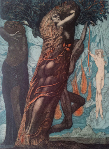Ernst FUCHS - Estampe-Multiple - Daphne in Eva Mystica