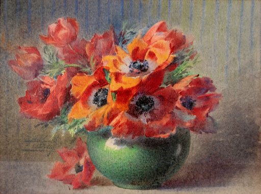 "Blanche ODIN - Drawing-Watercolor - ""LES ANEMONES ROUGES"""