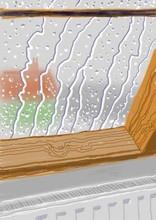 大卫•霍克尼 - 版画 - Rain on the Studio Window