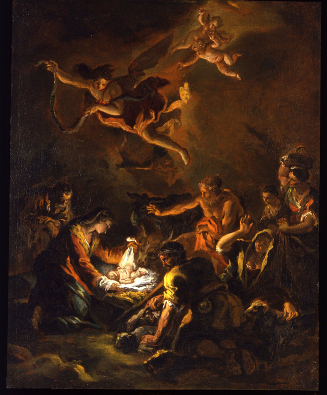 Gaspare DIZIANI - Painting - Adoration of the shepherds