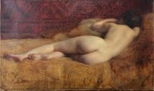 Paul SIEFFERT - Pintura - Femme nue allongée au dos
