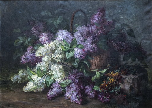 Louis LETSCH - Painting - Still life with bouquets of lilacs