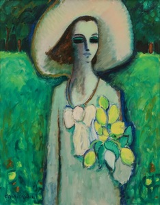 Jean-Pierre CASSIGNEUL - Pittura - Jeune fille au bouquet de tulipes