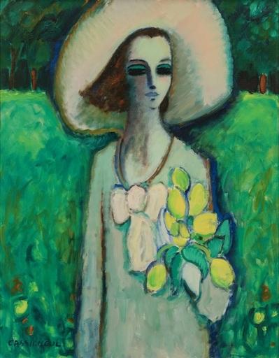 Jean-Pierre CASSIGNEUL - Painting - Jeune fille au bouquet de tulipes