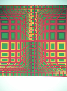 Victor VASARELY, Composition with Red, Green, and Yellow