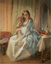 Joseph John JENKINS - Dibujo Acuarela - Morgentoilette einer jungen Dame