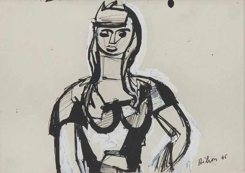 Jean HÉLION - Dessin-Aquarelle - Portrait de femme